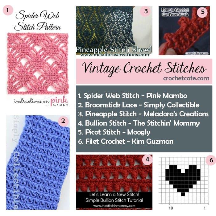 vintage crochet stitches the crochet cafe. Black Bedroom Furniture Sets. Home Design Ideas