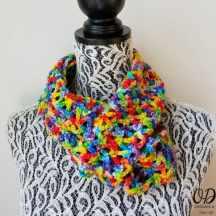 Rainbow Pebbles Infinity Scarf Free Pattern Oombawka Design 2