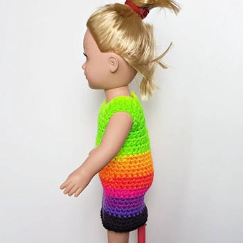 Side View Green Dress for Dolly 18 Inch Doll Clothes