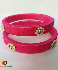 Pink Silk Thread Bangles With Pearls | Ethnic Essence
