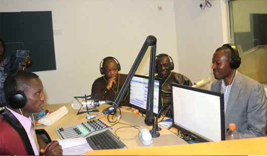 Barrister Kayode Osoba (Right), Representative of the Executive, OOU Alumni Association, (USA, Canada and Mexico) chapter, during an interview at the OOU FM Radio Station