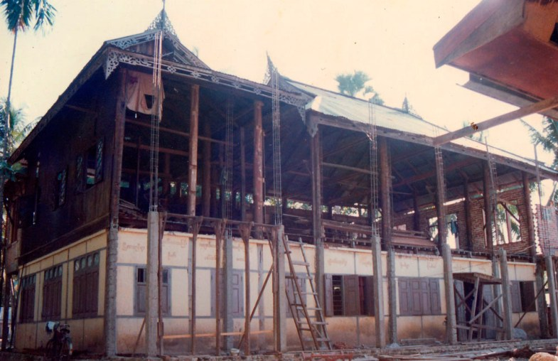 One of the first standing buildings, Metta Parami building in restoration thirty years ago.