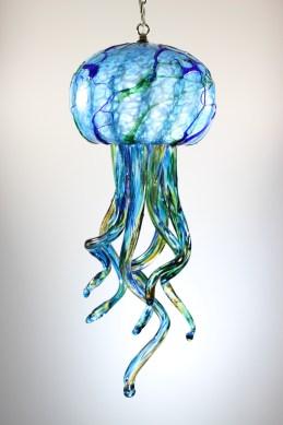 Aqua Jelly Fish Chandelier 9 x 24