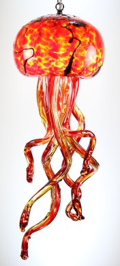 Red Hot Jellyfish Chandelier 9 x 24