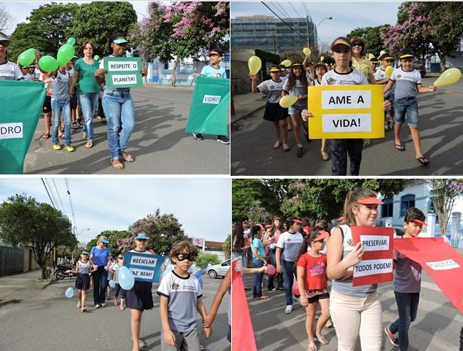 Os alunos empunharam cartazes com mensagens sobre reciclagem e respeito à vida e ao meio ambiente