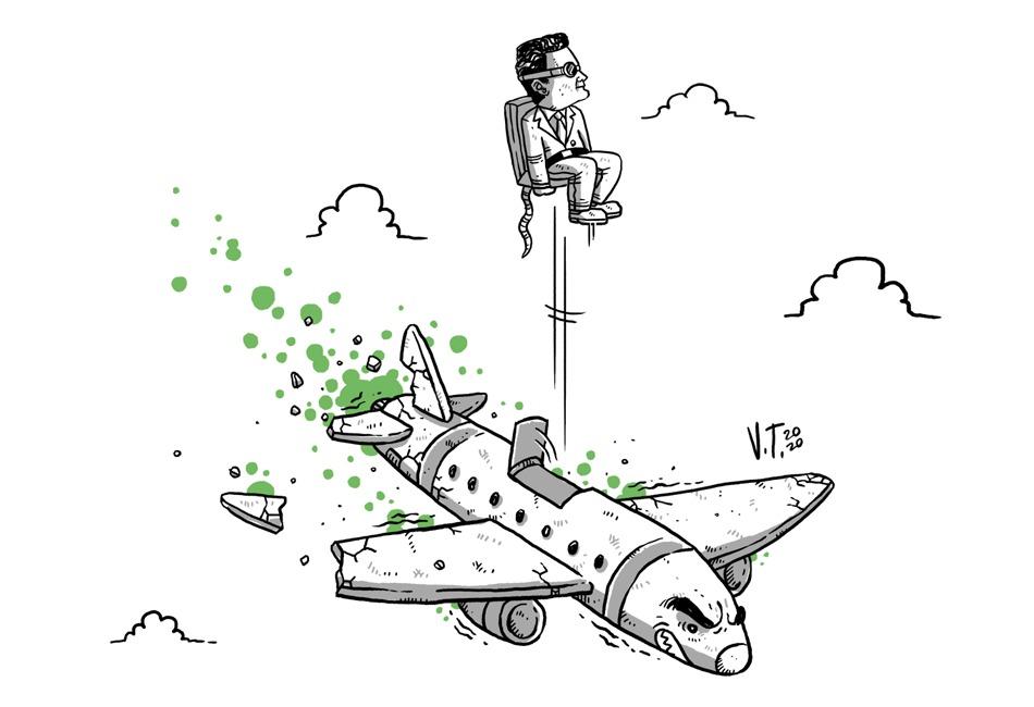 Sérgio Moro ejetado de um avião