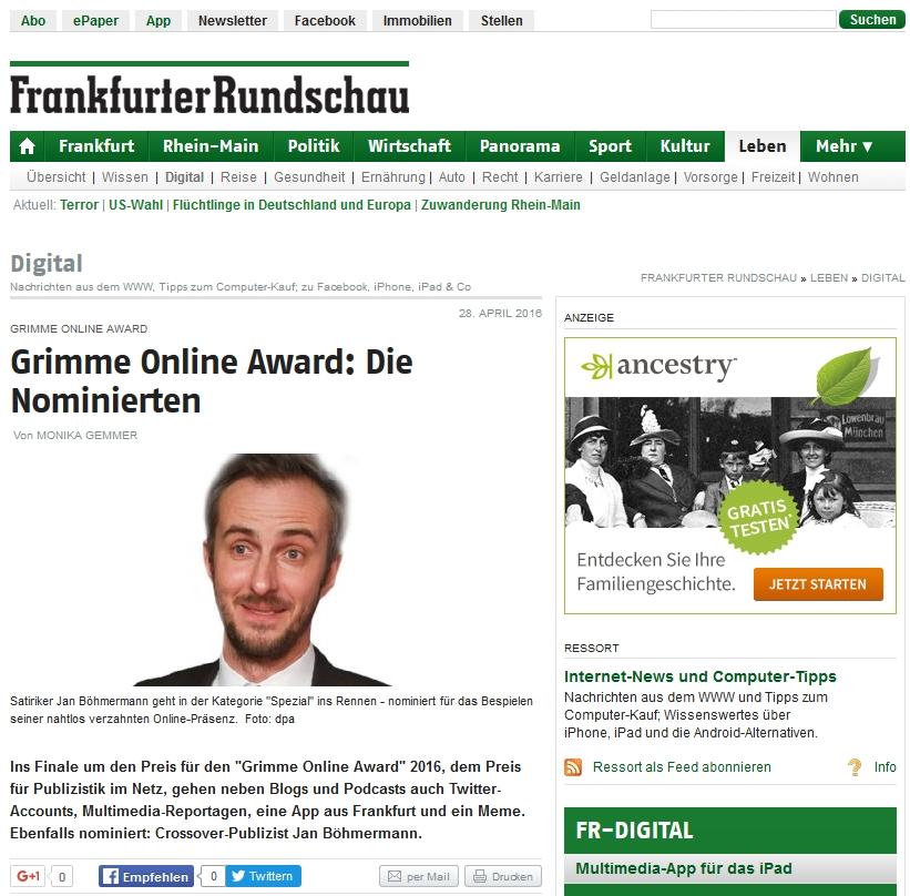 Frankfurter Rundschau Grimme