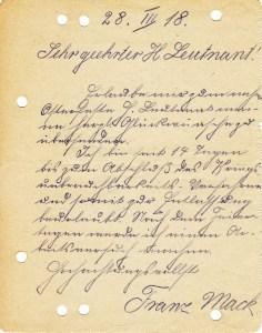 Feldpostbrief vom 28.03.1918 an Lt. Kaul 01