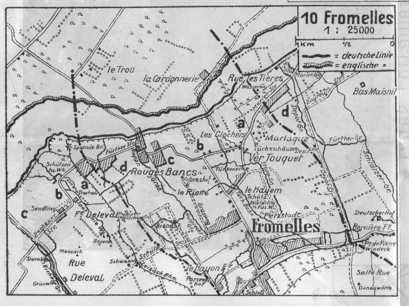 Karte von Fromelles aus den Erinnerungsblättern des 21. Infanterie-Regiments.