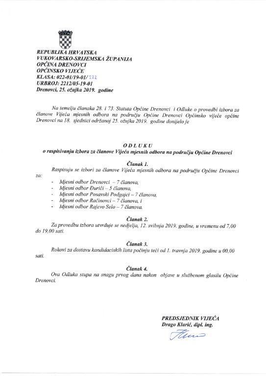 odluka za raspisivanje izbora vijeća 2019