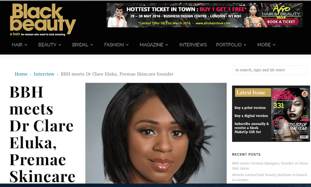 Dr Clare interviewed by Black beauty and hair mag, March 2016