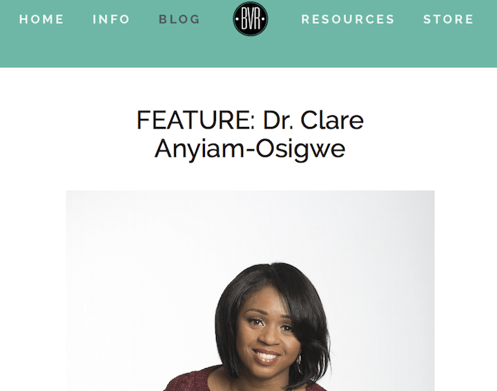 Dr Clare featured by Black Vegans Rock Blog
