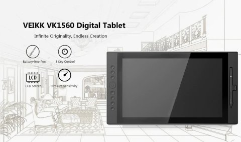 veikk vk1560 15.6 inch digital tablet lcd ips drawing monitor