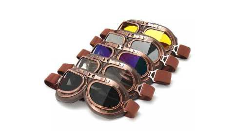 Vintage Pilot Helmet Steampunk copper Motorcycle Glasses Goggles - Vintage Pilot Helmet Steampunk Copper Motorcycle Helmet Glasses Goggles Anti UV Banggood Coupon Promo Code