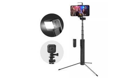 Blitzwolf BW BS8 - Blitzwolf BW-BS8 Bluetooth Tripod Selfie Stick With LED Fill Light Banggood Coupon Promo Code