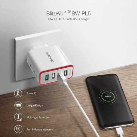 BlitzWolf BW PL5 - BlitzWolf BW-PL5 35W QC3.0 4-Ports Fast USB Charger Banggood Coupon Promo Code