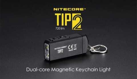 nitecore tip2 dual-core magnetic keychain flashlight