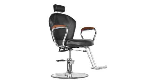 barber chair with wooden armrest
