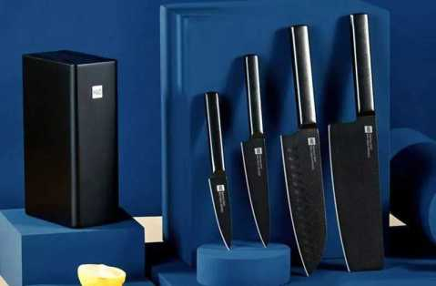 HUOHOU Cool Black Non stick Knife Set - HUOHOU Cool Black Non-stick Knife Set Banggood Coupon Promo Code [5PCS]