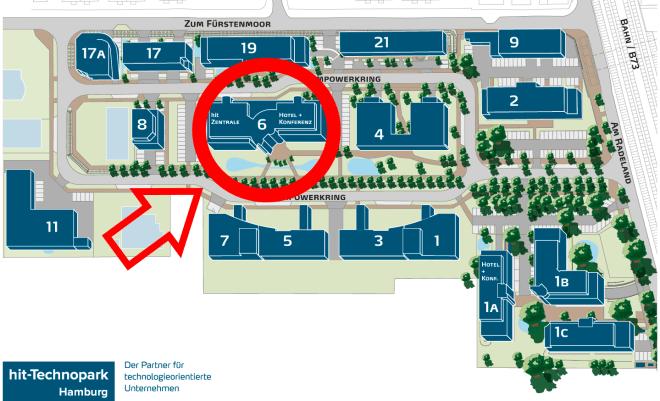 Lageplan hit-Technopark - markiertes Hauptgebäude
