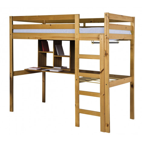 lit mezzanine et meubles integres 90x190 200 pin massif miel antique