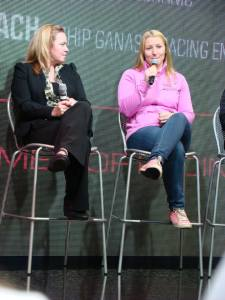 Pippa Mann speaks on at the women in racing conference at the INDYCAR booth at the Performance Racing Industry show on Friday December 12. Photo Credit: Jessica Jenkins