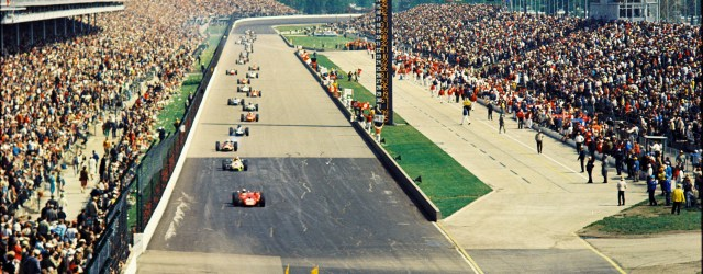 The field follows a pace car during the 1967 Indianapolis 500