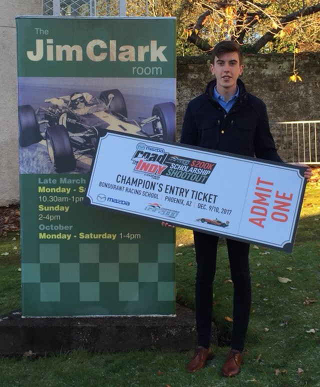 Thorburn displays his MRTI Shootout ticket
