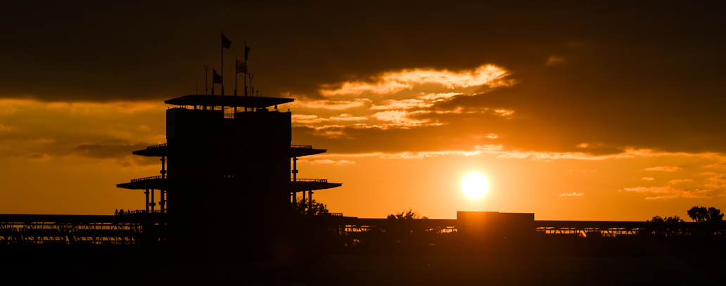 Indianapolis Motor Speedway at sunrise.