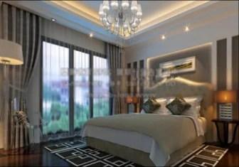 Design d\'intérieur de chambre à coucher moderne, modèle 3d ...