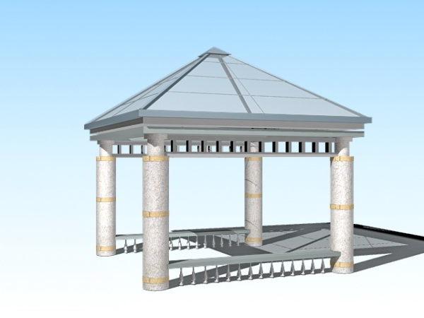 Glass Top Square Gazebo Pavilion 3ds Max Model Free (Max