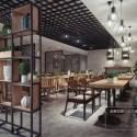 Modern Design Restaurant With Shelves Interior Scene