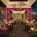 Mix Style Restaurant With Polygon Ceiling Lamps Interior Scene