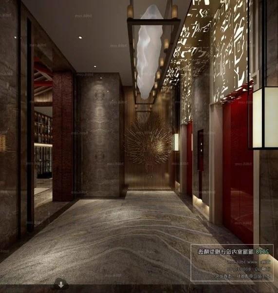 Chinese Style Hotel Elevator Lobby Interior Scene