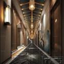 Chinese Design Hotel Lobby Interior Scene