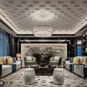 Chinese Style Luxury Living Room Interior Scene