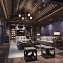 Asian Style Living Room Interior Scene
