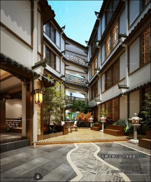 Ancient Chinese Hotel Outdoor Interior Scene