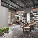 Modern Chinese Style Reception Room With Shelves Interior Scene