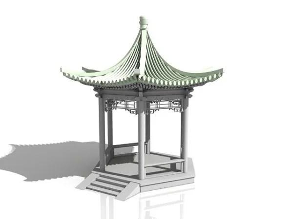 Pabellón del hexágono del jardín chino
