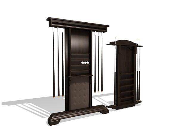 cue stick racks furniture free 3d model