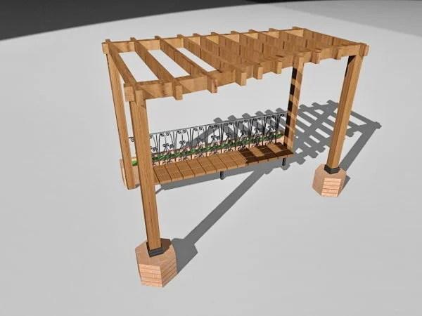 pergola en bois de jardin avec banc