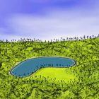 بحيرة المناظر الطبيعية والتلال الخضراء