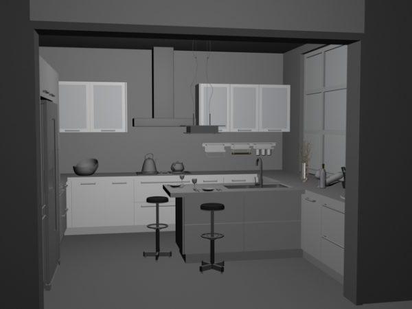 Idée de conception de petite cuisine moderne gratuite 3ds ...