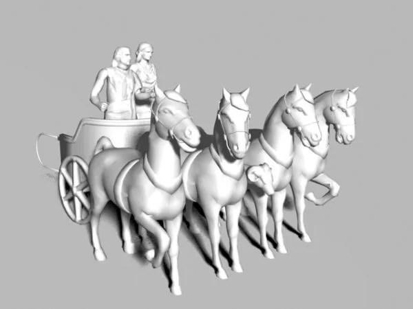 Estatua que tira del carro romano del caballo
