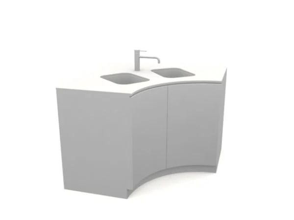two bowl curved corner kitchen sink