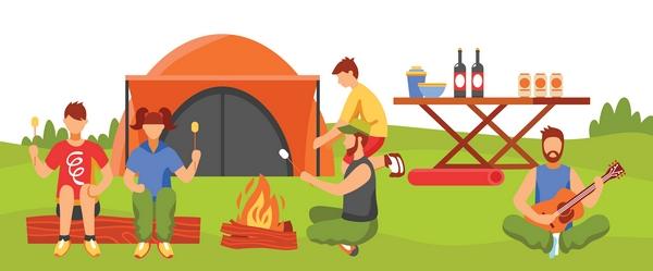 Cartoon family camping by campfire