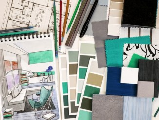 Drawing of room design with colour and fabric swatches