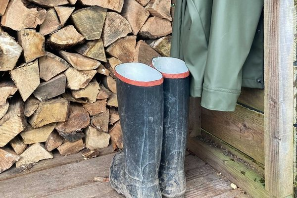 Wellies being kept outside