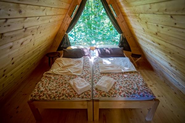 Glamping hut interior